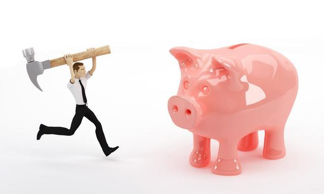 Cartoon man breaking piggy bank