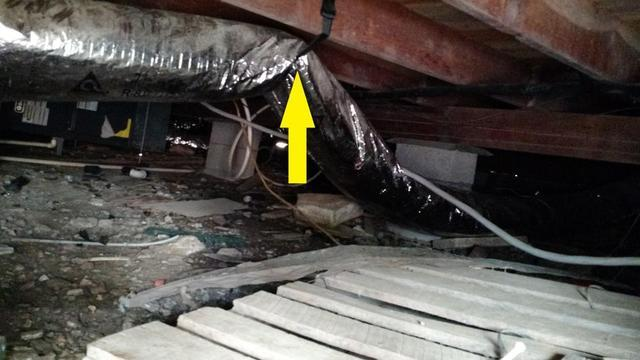 Pinched section of duct work